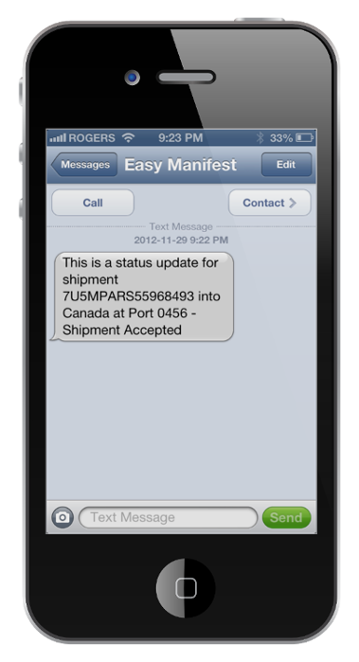 Mobile phone open at easymanifest web portal